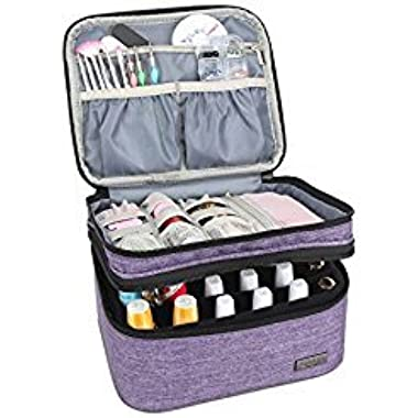 Luxja Nail Polish Carrying Case - Holds 20 Bottles (15ml - 0.5 fl.oz) or 30 Bottles (7ml - 0.27 fl.oz), Portable Organizer Bag for Nail Polish and Manicure Set, Purple
