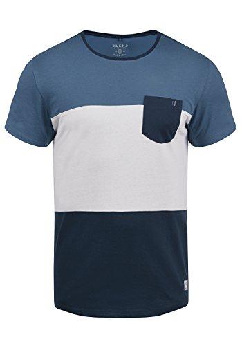 Blend Nemo Herren T-Shirt Kurzarm Shirt Streifenshirt Mit Streifen Und Rundhalsausschnitt, Größe:L, Farbe:Navy (70230)