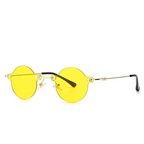 FRGH Gafas De Sol Redondas Sin Montura Retro para Hombre Gafas De Sol Sin Marco Vintage Uv400 Gafas De Sol para Mujer Gafas Punk