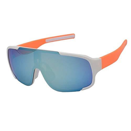 Gafas De Sol Polarizadas para Hombres Gafas De Sol Ligeras Unisex Blancas con Montura Naranja, Lentes Azules, A Prueba De Viento, Gafas De Ciclismo para Exteriores, Deportes, Conducción, Ga