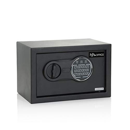 hjh OFFICE Tresor mit Zahlenschloss 8,5 L SAFE COMPACT III Stahl Schwarz Möbeltresor Elektronik Schloss 20x31x20cm, 830040