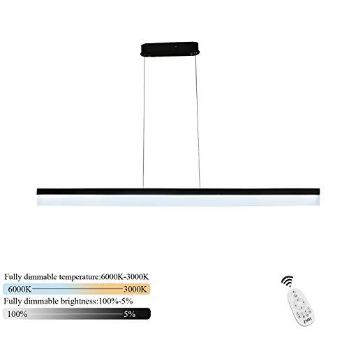CBJKTX LED Pendelleuchte dimmbar mit Fernbedienung Hängeleuchte esstisch 120cm 23W minimalistische Büroleuchte aus Metall und Acry Arbeitsplatzlampe für Wohnzimmer Büro Esstisch Cafe Restaurant