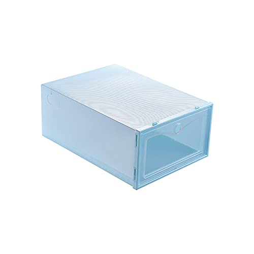 YUANB Caja organizadora de zapatos, apilable, grande, para zapatos, tipo cajón, apertura frontal, 6 unidades, plástico transparente para armarios y entrada, azul cielo