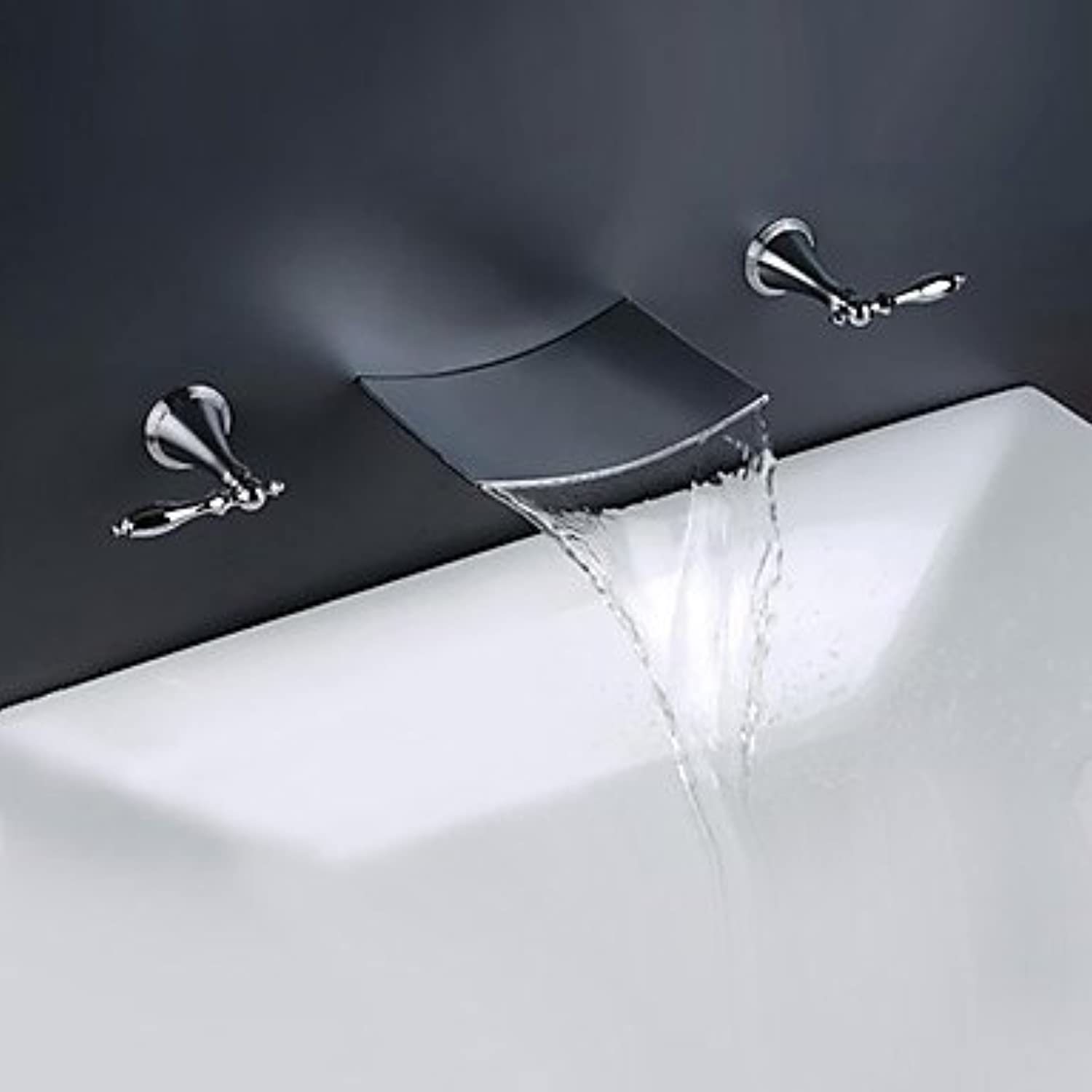 Contemporary Modern Style Widespread Waterfall Dual Handles Three Holes for Chrome Bathroom Sink Mixer Faucet