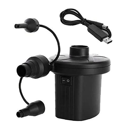 Heall Luftpumpe für Pool, elektrische Luftpumpe USB Wiederaufladbare Schnellfüllanlage mit 3 Düsen für den Paddling-Pool