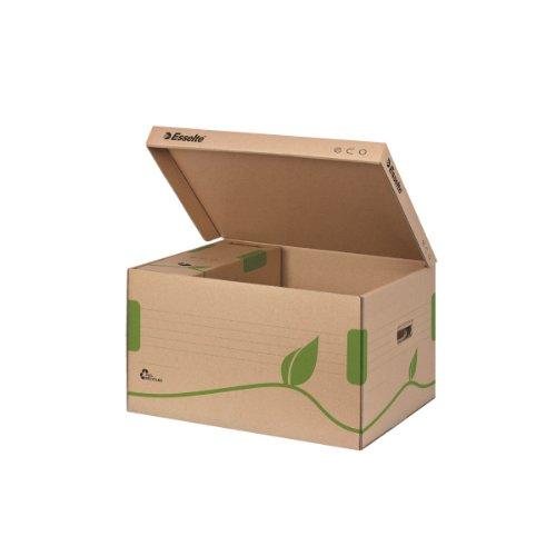 Esselte Ablage- und Transportbox, Obere Öffnung und integrierter Deckel, 100% recycelte Wellpappe, Naturbraun, Eco Archiv Serie, 623918