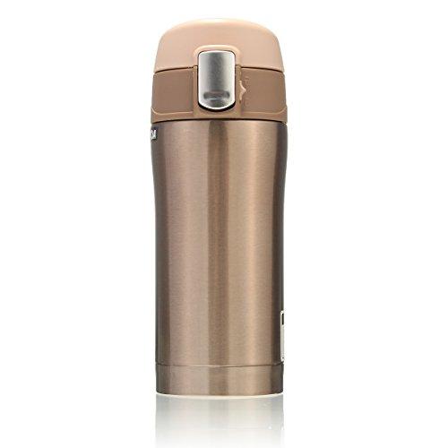 Bottiglia Acciaio Inox, CAMTOA 350ML Portatile Borraccia in Acciaio Inox Termica,Tazza da Viaggio Caffè,Tazza di Isolamento Termico,Bottiglia di Acqua, Tè/Caffè/Tazza di Bevanda Calda Thermos per Campeggio/ Viaggio/ Picnic/Casa/Pesca/Outdoor