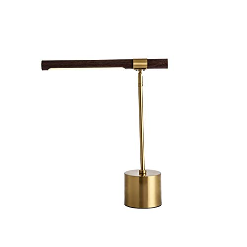 Tafellamp houtnerf koper slaapkamer bedlampje hotel licht LED oogbescherming tafellamp drukknopschakelaar E27 fitting (grootte: 40 × 47 cm)
