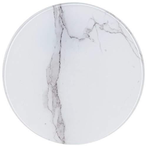 UnfadeMemory Tischplatte Glas Tischplatten ideal als Ersatzteil Glasplatte in Marmoroptik DIY Tisch für Esstisch Couchtisch Beistelltisch oder Gartentische(Rund Ø40 cm, Weiß)