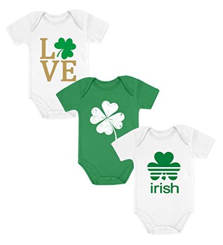 Conjunto de 3 bodies de trevo irlandês para bebês meninos/meninas, Branco amor / Verde trevo / Branco irlandês, LOVE NB / CLOVER 6M / IRISH NB
