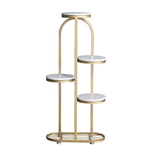 YAHAO Metal Plant Stand Marble, 5 Pots Flower Herbs Holder Plant Pot Holder Flower Rack Flower Shelf Stairs For Indoor Outdoor Home Decoration