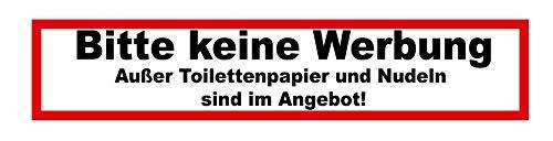 Briefkasten-Aufkleber Bitte keine Werbung außer Toilettenpapier und Nudeln sind im Angebot Sticker Fun Lustig Werbeverbot 2 Stück