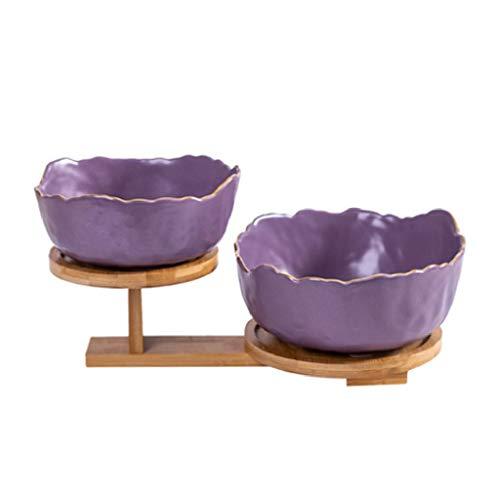 WUHUAROU Plato de Fruta de cerámica nórdica Phnom Penh, Cuenco de Postre, Suministros de vajilla, Estante de Madera Creativo, Plato de Aperitivos, Juego de ensaladera para el hogar (Color : Purple)