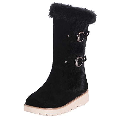 TUDUZ Winterstiefel Damen Suede Round Toe Schnalle Flache Schuhe Halten Warm Middle Tube Snow Boots