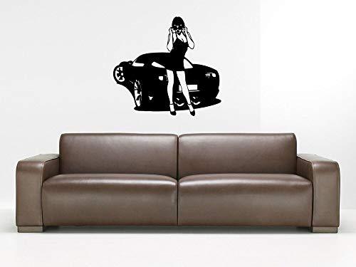 Tianpengyuanshuai sportwagen muur vinyl muursticker en een hete meisje tattoo hoogwaardige kunst design behang afneembare muur applicatie muurschildering