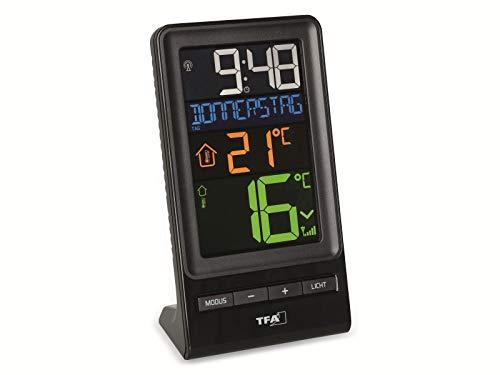 TFA Dostmann Spira - Termómetro inalámbrico con pantalla a color, temperatura exterior, temperatura interior, valores máximos y mínimos