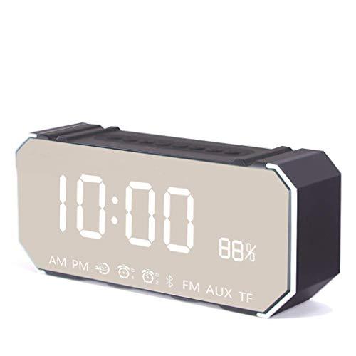 BSJZ Reloj Despertador LED Decorativo Altavoz Bluetooth inalámbrico Reloj Despertador silencioso Reloj Despertador electrónico multifunción Inteligente Oficina Dormi