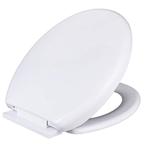 Soft Slow Close Toilet Seat with Easy Quick Release Top Fix Adjustable Hinges, White Plastic Loo Seat