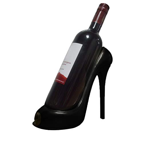 Skxinn High Heel Weinregal Flaschenhalter Schuh Hause Tisch Küche Dekor Geschenke,Zubehör Weinflaschenhalter High Heel Schuhform Stilvolles Weinregal für Inneneinrichtungen (Schwarz,22x10x19cm)