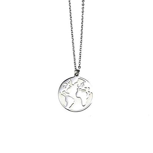 N\A Ins Hip Hop Bungee World Map Necklace Men And Women Pendant Soil Cool Tide Clavicle Chain Student Neck Pendant