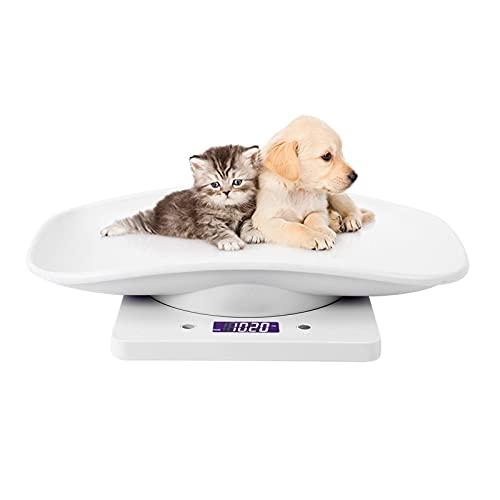 Tissting Báscula Electrónica Digital para Mascotas Pantalla Digital LCD Báscula Electrónica para Mascotas Báscula Electrónica de Carga de 10 kg para Gato pequeño y Perros pequeño