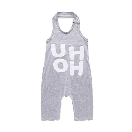 LABIUO Sommer Overall Jungen Briefaufdruck Baby Body Lose Weste Kinderkleidung Baby Schlafanzug(Grau,5-6 Jahre)