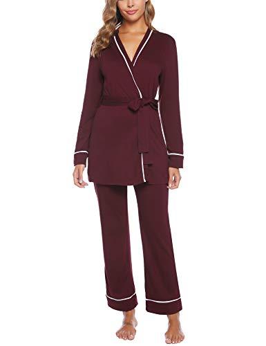 iClosam Batas y Albornoz Mujer Algodón,Kimono Pijama Largo con Cinturón,Ropa de Dormir Cuello en V Suave y Comodo S-XXL