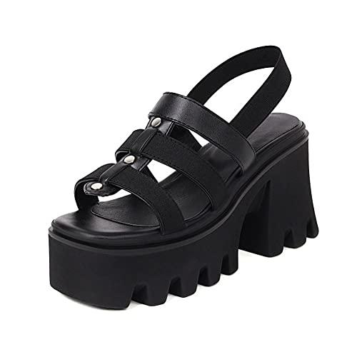 Women Platform Block Heel Sandals Elastic Strappy Open Toe Gothic Punk Roman Sandals,Black,4 UK