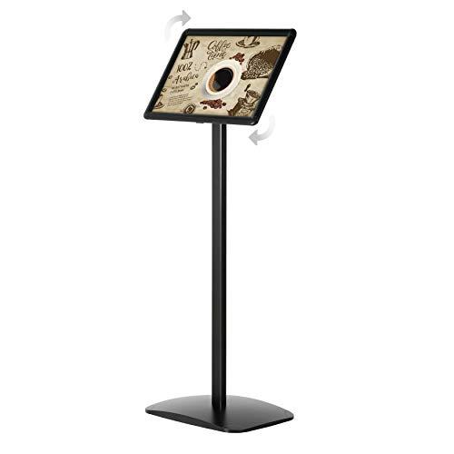 DISPLAY SALES Soporte informativo (DIN A4, 210 x 297 mm), color negro Soporte de información de diseño premium (1 m de altura). Placa de aluminio inoxidable. uso en formato vertical y horizontal