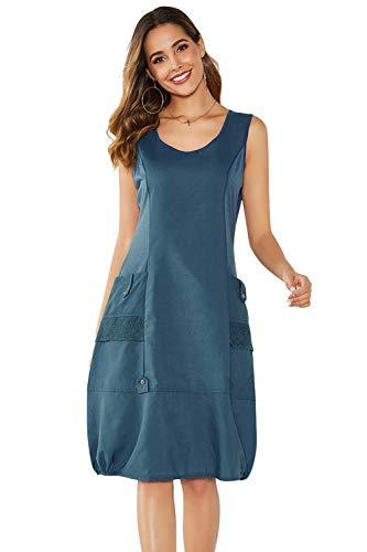 Yidarton Damen Kleider Strand Elegant Casual A-Linie Kleid Ärmellos Sommerkleider (XL, Blau)