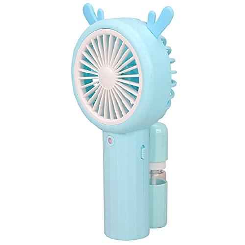 Ventilador De Mano Portátil USB Recargable Pequeño Ventilador Eléctrico De Agua Pulverizada, Ventiladores De Sobremesa para Casa Oficina Dormitorio Exterior. (Azul)