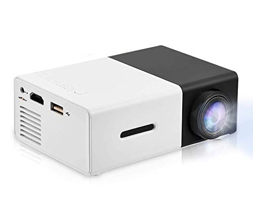 Vbestlife Mini Projector,Portable 1080P 600lm 4 : 3 LED Projector Home Cinema Theater Movie Support Laptop PC Smartphone HDMI Input,Great Gift Pocket Projector for Party Camping (Black&White)