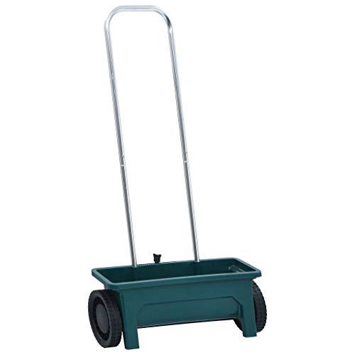 vidaXL Abonadora de Jardín Aluminio Carro Esparcidora Todoterreno con Ruedas Dosificador de Fertilizante Esparcir Abono Semillas 12 L