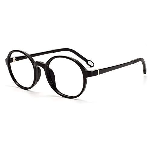 MARIDAキッズメガネ ブルーライトカット [透明レンズ] 子供用 pcメガネ パソコン用 輻射防止 視力保護 眼精疲労低減に ブラック