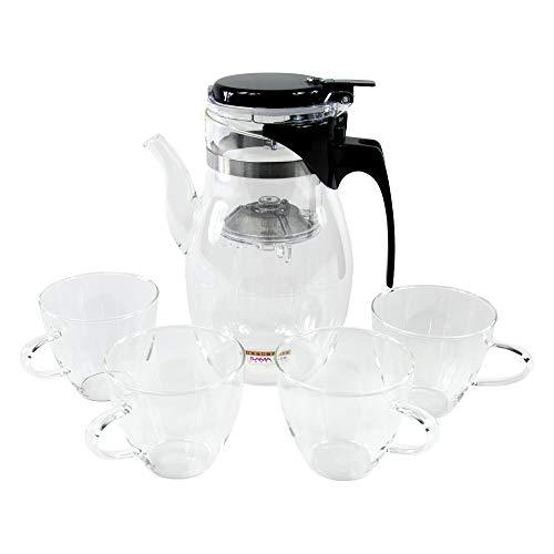 SAMA DOYO - Teiera in vetro da 900 ml e quattro bicchieri da tè da 150 ml