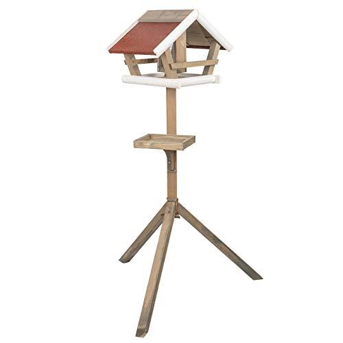 """VOSS.garden Vogelhaus """"Birdy"""" mit Ständer, Futtersilo und Futtertisch, Futterhaus aus Holz, 30 x 48 x 123cm"""