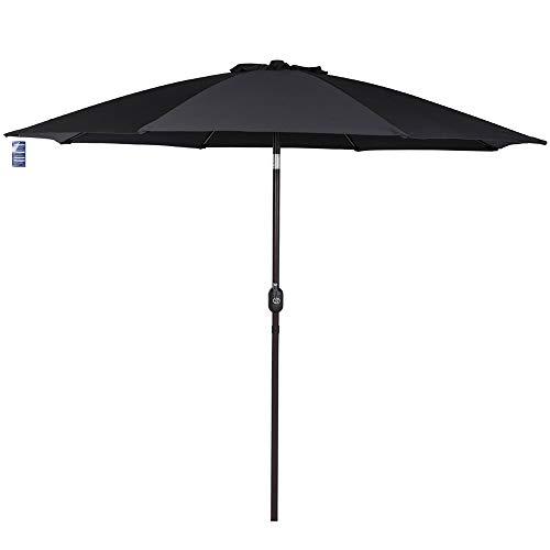 Sundale Outdoor 9 Feet Aluminum Market Umbrella Table Umbrella with Crank and Push Button Tilt for Patio, Garden, Deck, Backyard, Pool, 8 Fiberglass Ribs, 100% Polyester Canopy (Black)