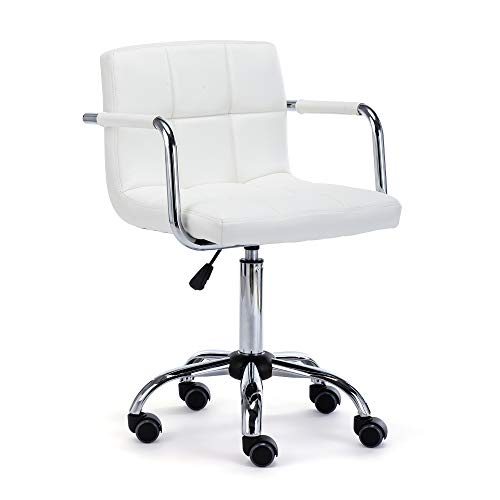 HNNHOME® Height Adjustable Swivel PU Leather Computer Desk Chair With Armrest for Home Office (White)