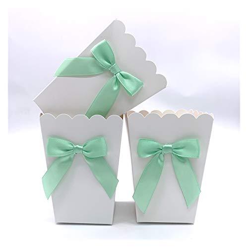 6ピンク/ブルー紙ポップコーンボックス弓ポップフォーバックボックスベビーシャワー誕生日パーティー御馳走お尻テーブルサプライ5.5cmx7.5cmx10.7cm (色 : 6pcs Mint Green)