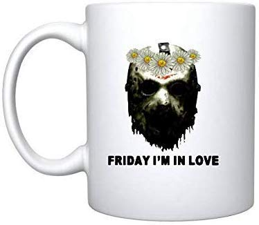 Jason Voorhees Face Friday I'm in Love Follower – Taza de regalo de 325 ml