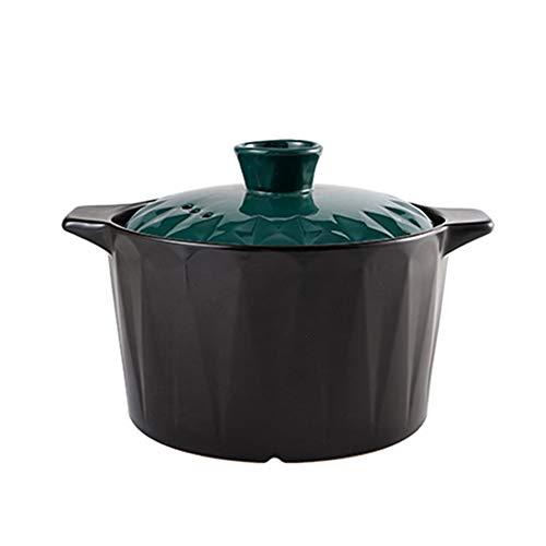 XY&YD Bol en Pierre en Céramique Coréenne Ustensiles,Chaleur-résistant Faitout,Braising Soupe Faïence Cocotte,Pas-bâton Pot d'argile Cocotte Noir 4.5l