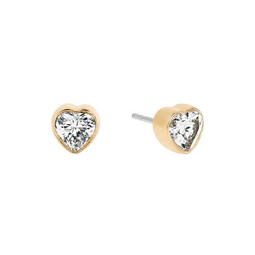 Finish any outfit with a dash of sparkle with these Michael Kors stud earrings, featuring heart-shaped clear CZ stones in gold-tone bezel settings.