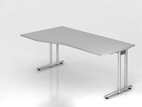 Schreibtisch C Fuß 180x100 80cm Grau Silber Bürotisch EDV Tisch