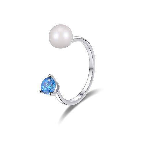 Stone Beads Anillo de Perlas de Agua Dulce con circonita cúbica Azul Aguamarina en Plata de Ley.