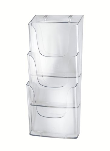 SIGEL LH135 Porta-folletos de pared acrylic, con 3 compartimentos, Material acrílico, para A4, 1 unds