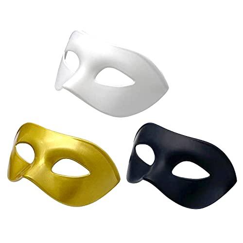 Mascarada de máscaras,3 unidades, color negro, máscara veneciana, máscara de fiesta de media cara, máscara de fiesta de Mardi Gras, máscara de Halloween para hombres y mujeres,fiesta bola de Halloween