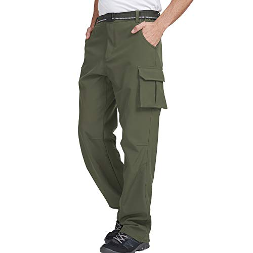 GITVIENAR Pantalon d'extérieur pour homme - Chaud - Pour l'escalade - En polaire - Respirant - Imperméable - Coupe-vent - Pour la randonnée - Pour l'hiver - Pour le trekking, le ski, la montagne