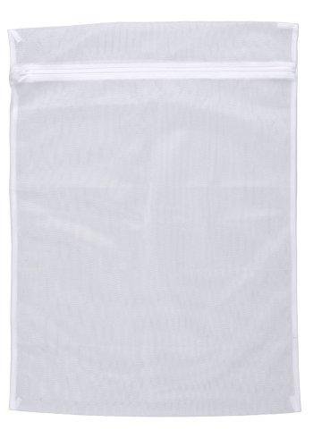 WENKO Wäschenetz, fasst 3 kg Kleidung, Waschbeutel mit Reißverschluss für die Waschmaschine, schont Feinwäsche, Socken & Co. bei jedem Waschgang, kochfest, aus hochwertigem Polyester, 50 x 70 cm, Weiß