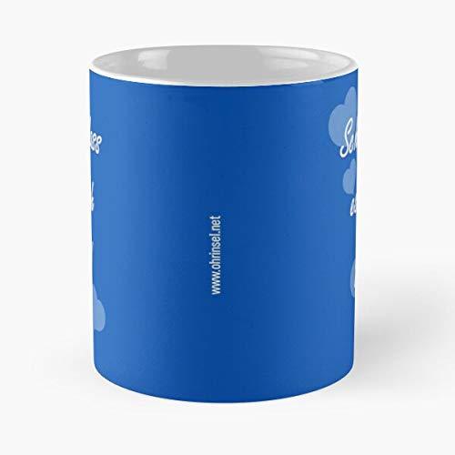 Taza de café con forma de taza de café y pendientes de isla mejor taza de café de cerámica de 11 onzas