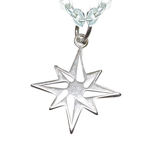 Sicuore Colgante Collar Estrella Polar Rosa De Los Vientos para Mujer Hombre - Plata De Ley 925 Incluye Cadena De Plata De 45cm Y Estuche para Regalo
